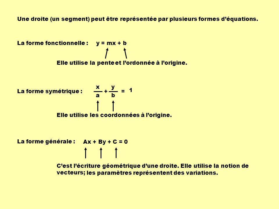 Une droite (un segment) peut être représentée par plusieurs formes déquations.