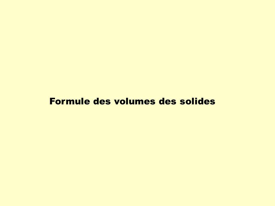 Les bases et les faces latérales des solides Le calcul de cet espace sappelle le volume.
