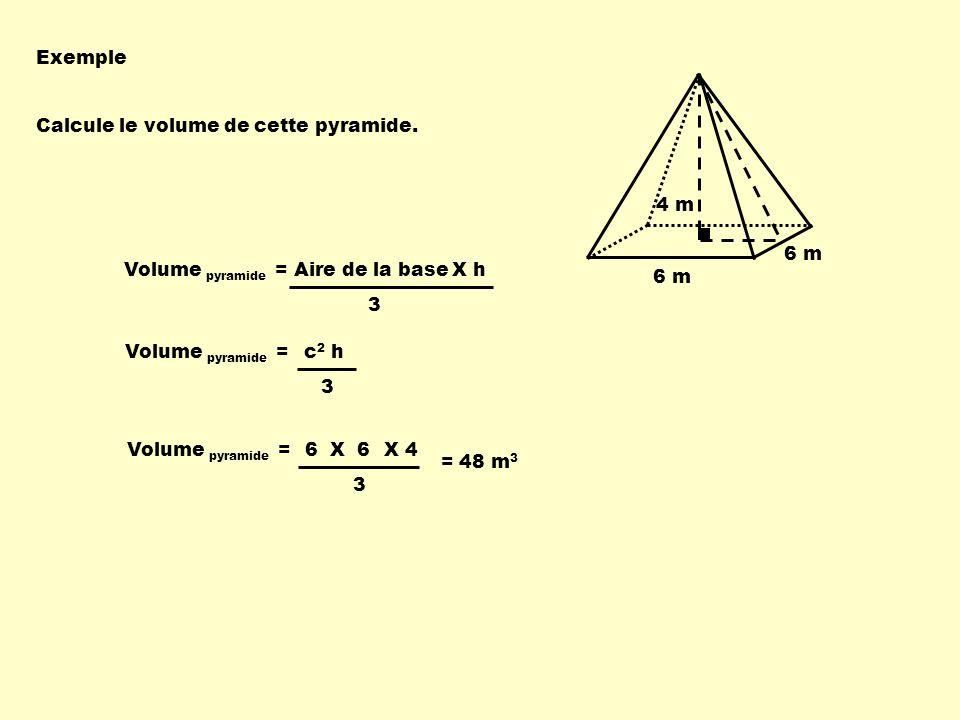 6 m 4 m Volume pyramide = Aire de la baseX h 3 Volume pyramide = 3 X 4 = 48 m 3 6 X 6 Volume pyramide = 3 c 2 h Exemple Calcule le volume de cette pyramide.