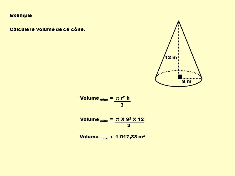 Exemple Calcule le volume de ce cône.