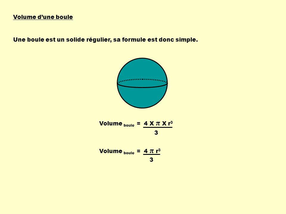 Volume dune boule Une boule est un solide régulier, sa formule est donc simple.