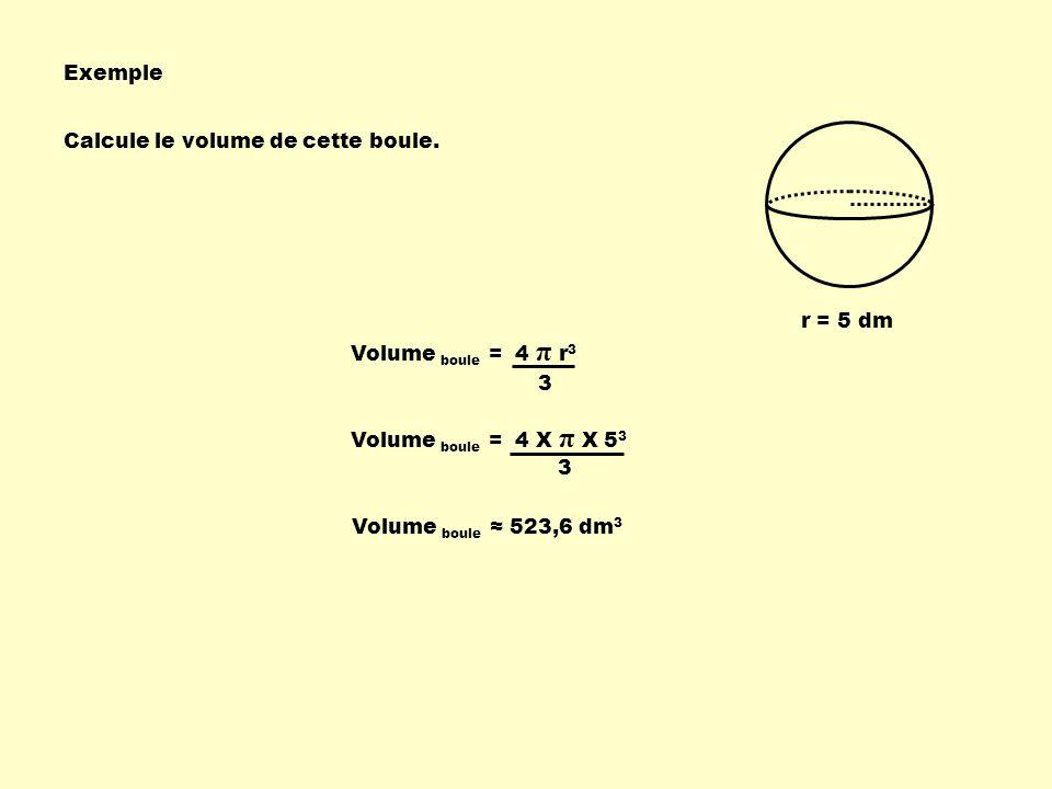 Exemple Calcule le volume de cette boule.