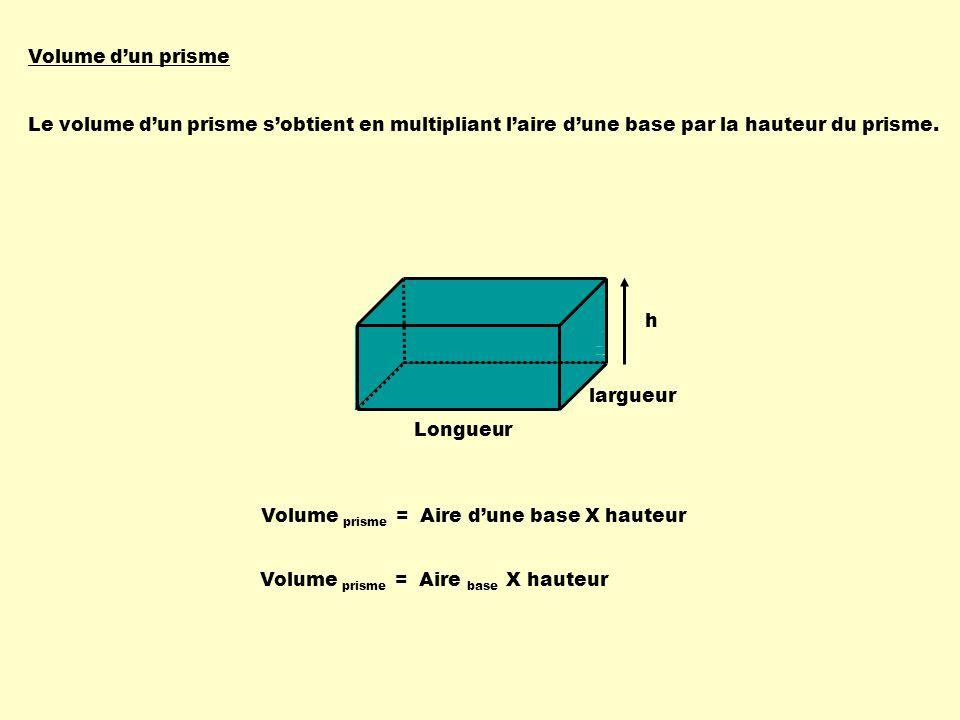 En résumé Volume dun prisme = Aire base X h Volume dune pyramide = Aire base X h 3 Ces deux formules dépendent de la forme des bases.