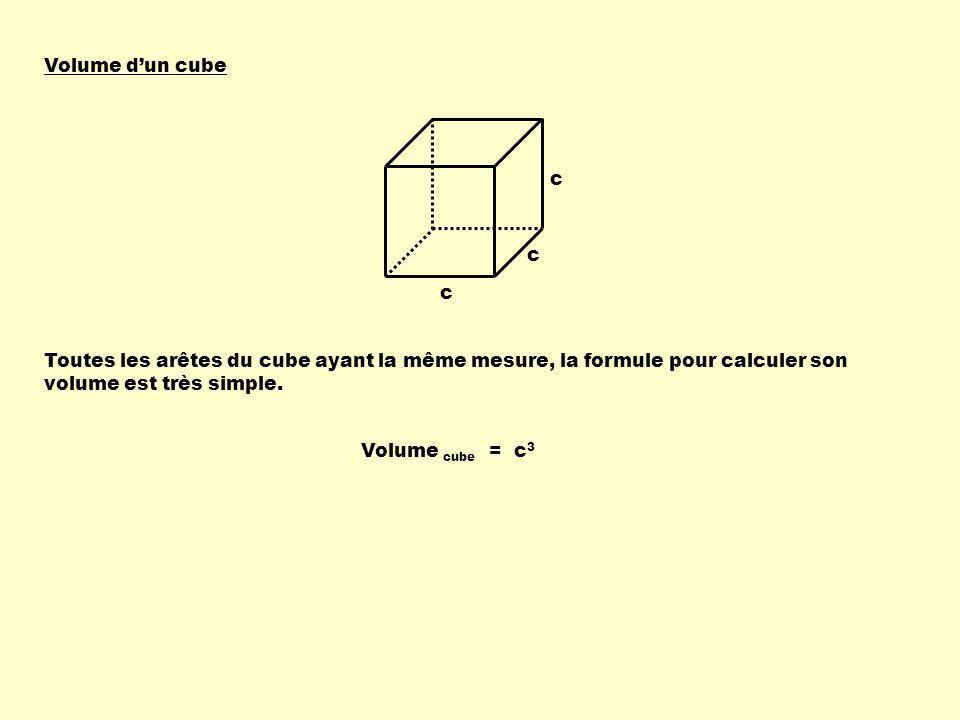 Volume dun cube c c c Toutes les arêtes du cube ayant la même mesure, la formule pour calculer son volume est très simple.