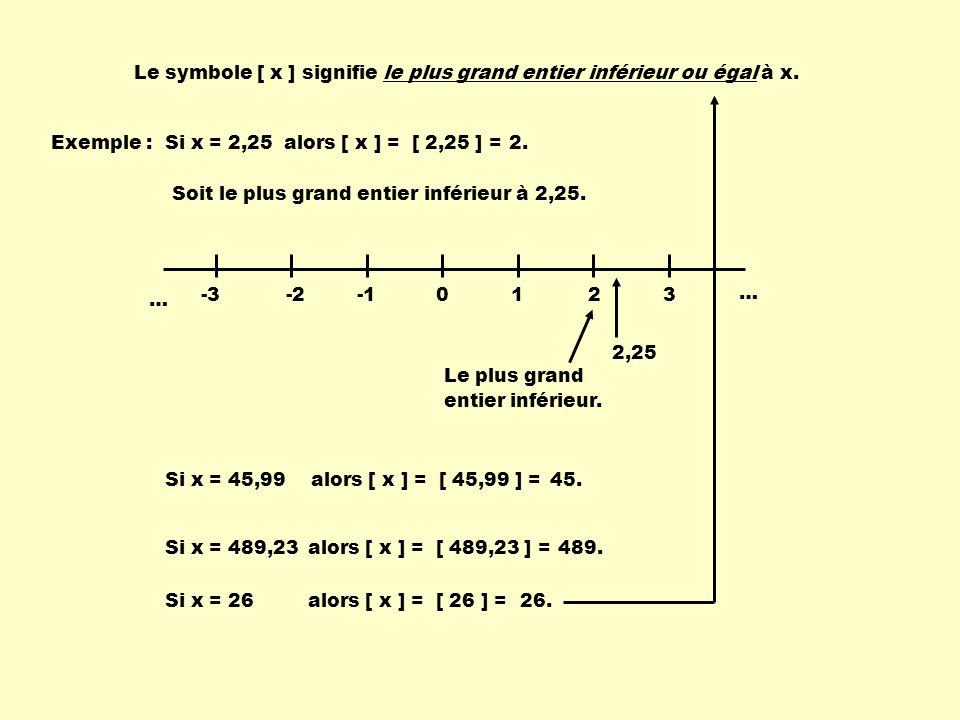 Le symbole [ x ] signifie le plus grand entier inférieur ou égal à x.