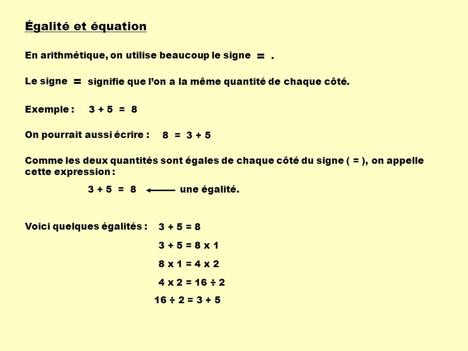 Égalité et équation En arithmétique, on utilise beaucoup le signe = Le signe signifie que lon a la même quantité de chaque côté. = Exemple :3 + 5 = 8