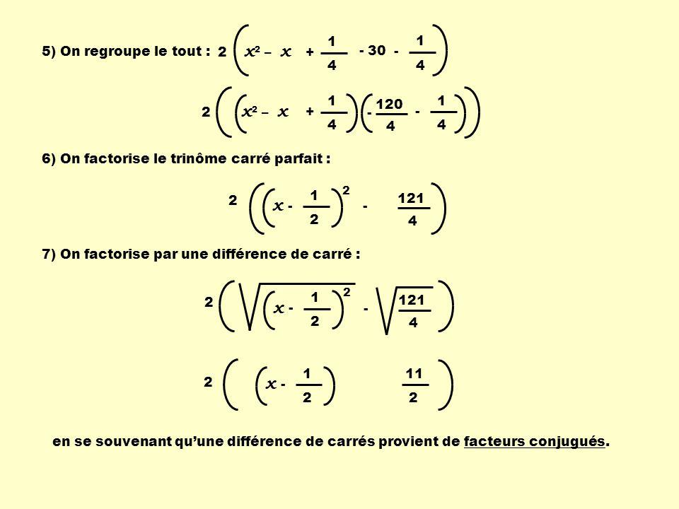 2 x 2 – x 1 4 - 120 1 4 + 4 - 5) On regroupe le tout : 6) On factorise le trinôme carré parfait : 7) On factorise par une différence de carré : 1 4 -