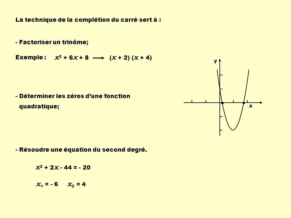 La technique de la complétion du carré sert à : - Factoriser un trinôme; - Déterminer les zéros dune fonction quadratique; - Résoudre une équation du
