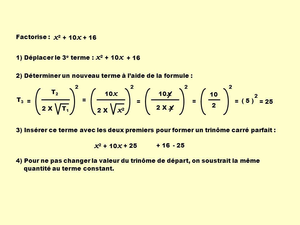 Factorise : x 2 + 10 x + 16 x 2 + 10 x 1) Déplacer le 3 e terme : + 16 2) Déterminer un nouveau terme à laide de la formule : T2T2 2 X T 1 2 T 3 = 10