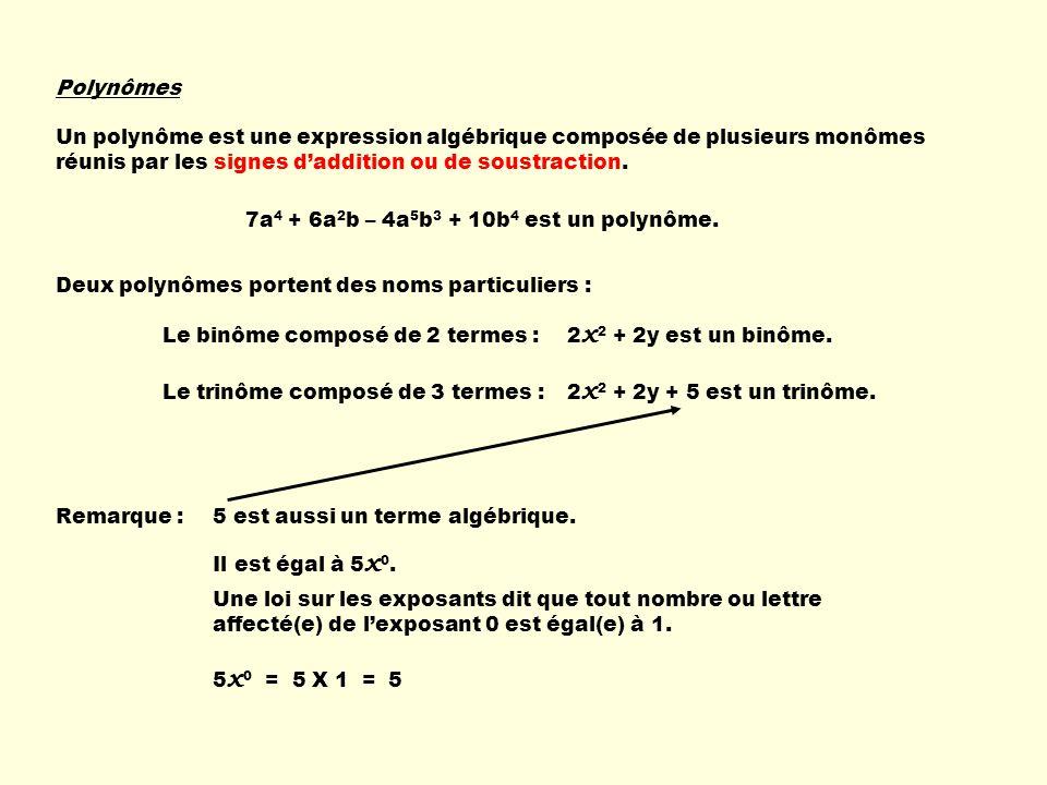 Polynômes Un polynôme est une expression algébrique composée de plusieurs monômes réunis par les signes daddition ou de soustraction. 7a 4 + 6a 2 b –