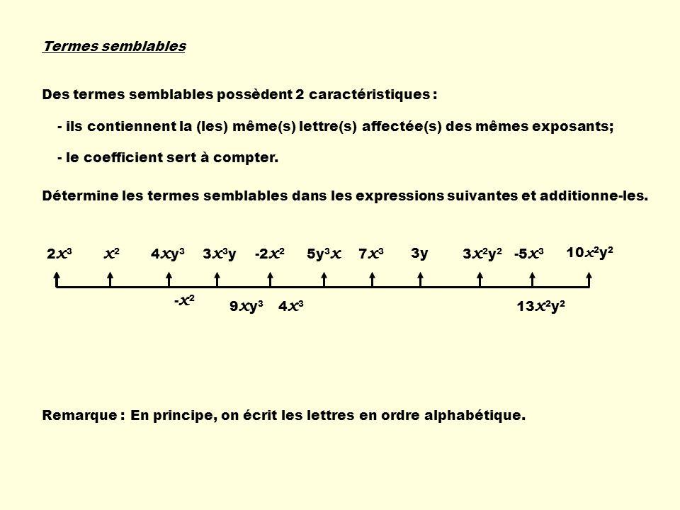 Termes semblables Des termes semblables possèdent 2 caractéristiques : - ils contiennent la (les) même(s) lettre(s) affectée(s) des mêmes exposants; -