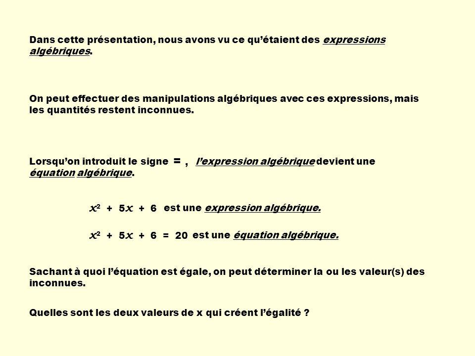Dans cette présentation, nous avons vu ce quétaient des expressions algébriques. On peut effectuer des manipulations algébriques avec ces expressions,