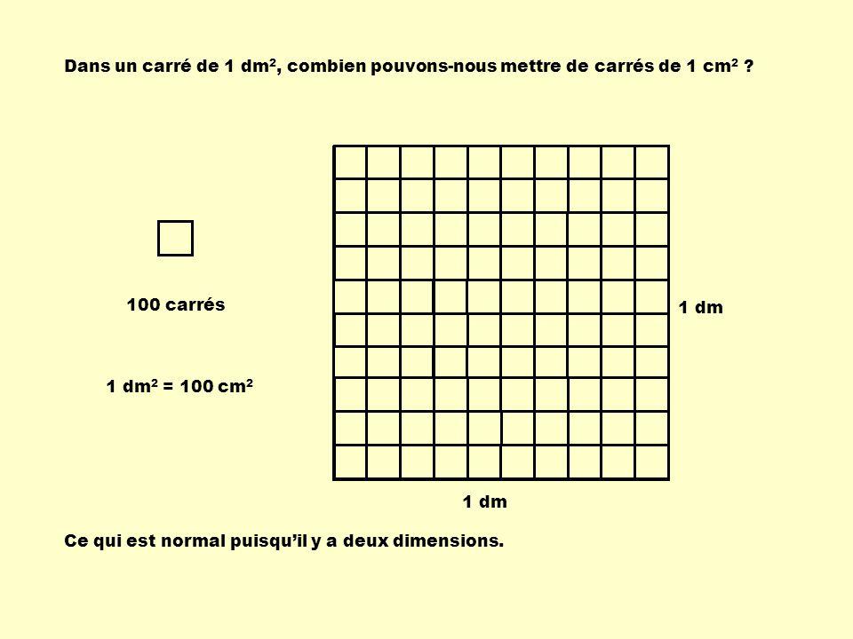Dans un carré de 1 dm 2, combien pouvons-nous mettre de carrés de 1 cm 2 .