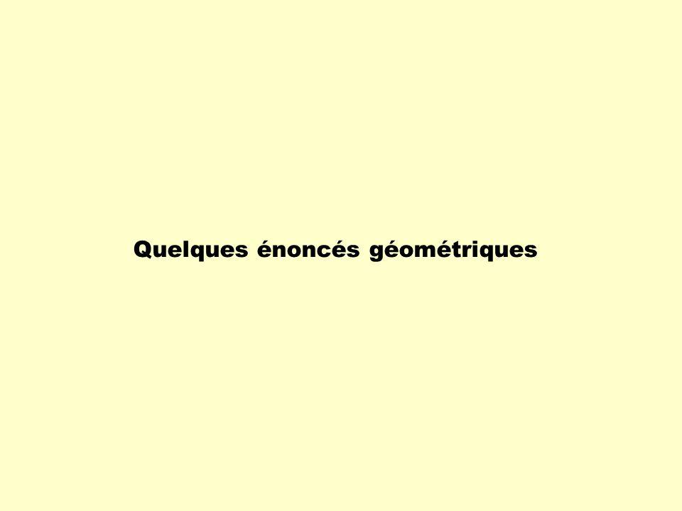 Quelques énoncés géométriques