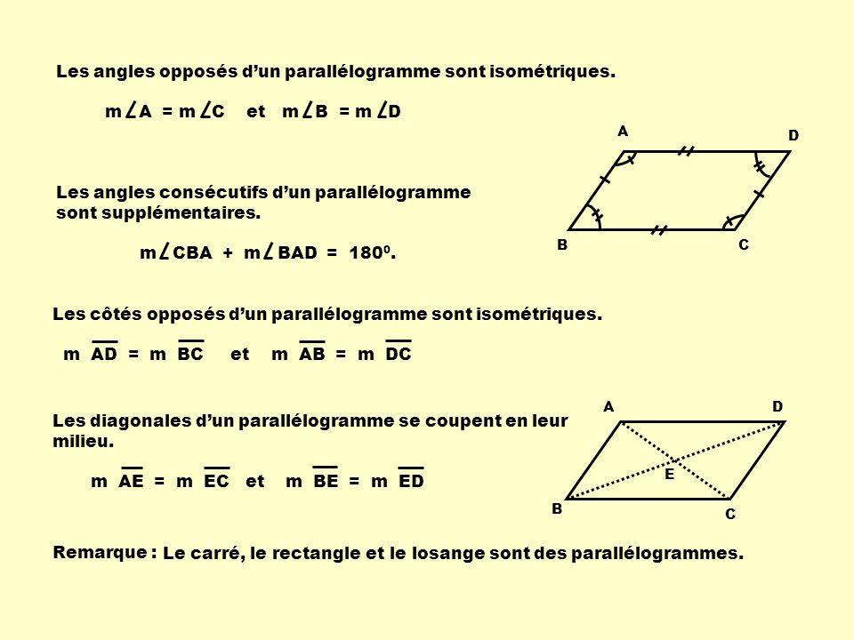Les côtés opposés dun parallélogramme sont isométriques. m AD = m BC et m AB = m DC Les angles consécutifs dun parallélogramme sont supplémentaires. A
