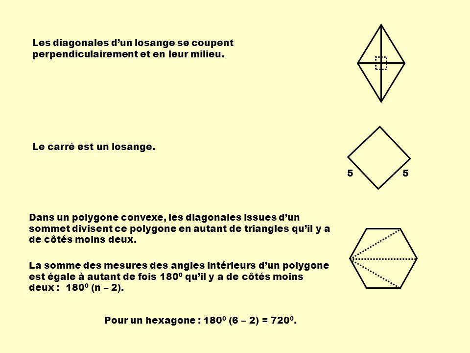 Les diagonales dun losange se coupent perpendiculairement et en leur milieu. Le carré est un losange. 55 Dans un polygone convexe, les diagonales issu
