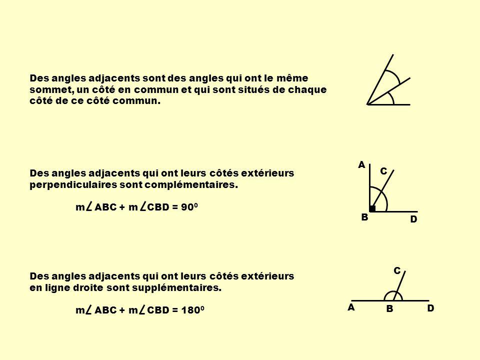 Des angles adjacents sont des angles qui ont le même sommet, un côté en commun et qui sont situés de chaque côté de ce côté commun. A B C D A B C D De