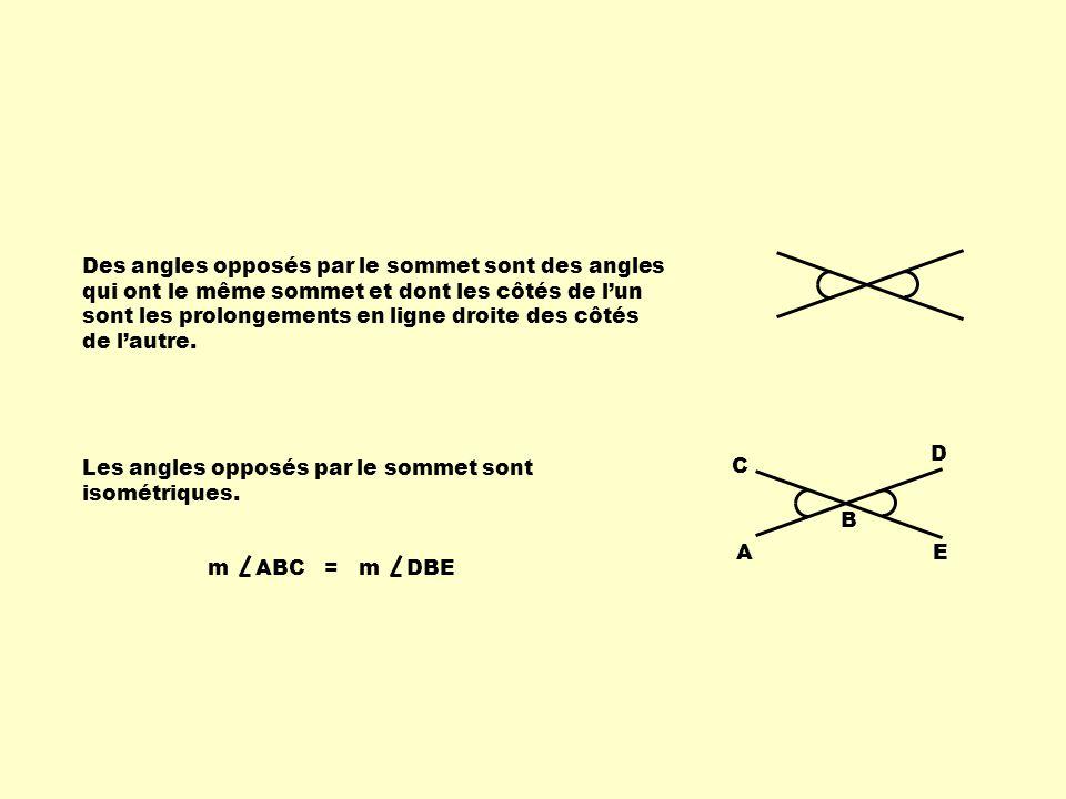 Des angles opposés par le sommet sont des angles qui ont le même sommet et dont les côtés de lun sont les prolongements en ligne droite des côtés de lautre.