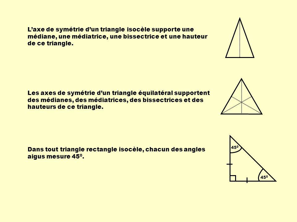 Laxe de symétrie dun triangle isocèle supporte une médiane, une médiatrice, une bissectrice et une hauteur de ce triangle. Les axes de symétrie dun tr