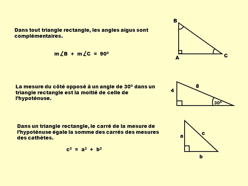 Dans tout triangle rectangle, les angles aigus sont complémentaires. A B C La mesure du côté opposé à un angle de 30 0 dans un triangle rectangle est