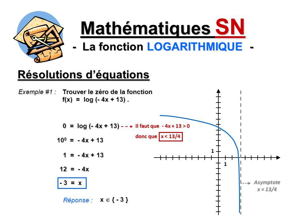 Résolutions déquations Mathématiques SN - La fonction LOGARITHMIQUE - Exemple #1 : Trouver le zéro de la fonction f(x) = log (- 4x + 13). 0 = log (- 4