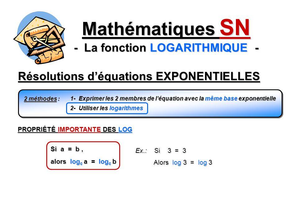 Résolutions déquations EXPONENTIELLES Mathématiques SN - La fonction LOGARITHMIQUE - 2 méthodes : 1- Exprimer les 2 membres de léquation avec la même base exponentielle 2- Utiliser les logarithmes Si a = b, Ex.: Si 3 = 3 Alors log 3 = log 3 Alors log 3 = log 3 PROPRIÉTÉ IMPORTANTE DES LOG alors log c a = log c b