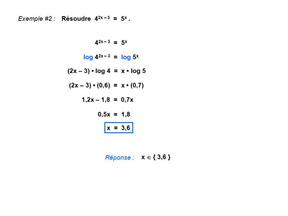 Exemple #2 : Résoudre 4 2x – 3 = 5 x. Réponse : x { 3,6 } 4 2x – 3 = 5 x log 4 2x – 3 = log 5 x (2x – 3) log 4 = x log 5 (2x – 3) (0,6) = x (0,7) 1,2x