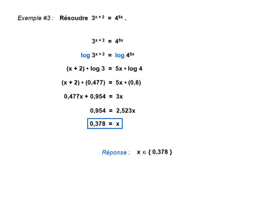 Exemple #3 : Résoudre 3 x + 2 = 4 5x. Réponse : x { 0,378 } 3 x + 2 = 4 5x log 3 x + 2 = log 4 5x (x + 2) log 3 = 5x log 4 (x + 2) (0,477) = 5x (0,6)