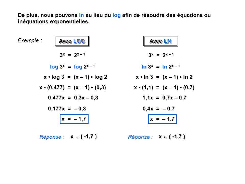 De plus, nous pouvons ln au lieu du log afin de résoudre des équations ou inéquations exponentielles. Exemple : Réponse : x { -1,7 } 3 x = 2 x – 1 log