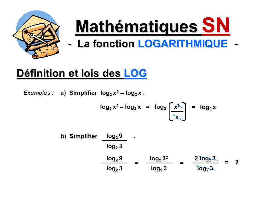 Définition et lois des LOG Mathématiques SN - La fonction LOGARITHMIQUE - Exemples : a) Simplifier log 2 x 2 – log 2 x. log 2 x 2 – log 2 x = log 2 x2