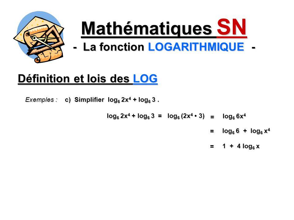 Définition et lois des LOG Mathématiques SN - La fonction LOGARITHMIQUE - Exemples : c) Simplifier log 6 2x 4 + log 6 3. log 6 (2x 4 3) log 6 2x 4 + l