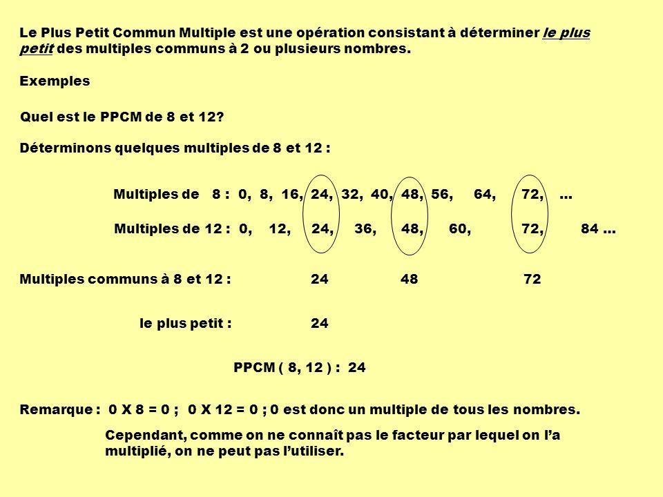 Le Plus Petit Commun Multiple est une opération consistant à déterminer le plus petit des multiples communs à 2 ou plusieurs nombres. Exemples Quel es