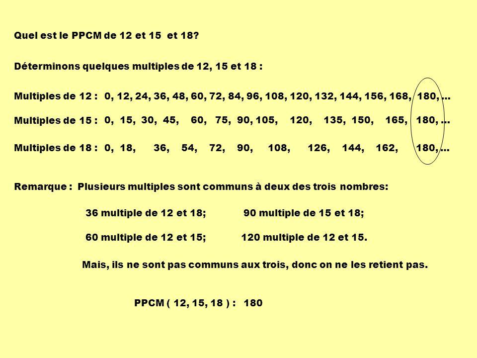 Multiples de 12 :0, 12, 24, 36, 48, 60, 72, 84, 96, 108, 120, 132, 144, 156, 168, 180, … Multiples de 15 : 0, 15, 30, 45, 60, 75, 90, 105, 120, 135, 1