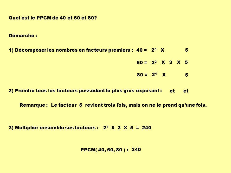 Quel est le PPCM de 40 et 60 et 80? Démarche : 1) Décomposer les nombres en facteurs premiers :40 = 2 3 X 5 80 = X 60 = 2 X X 5 5 2) Prendre tous les