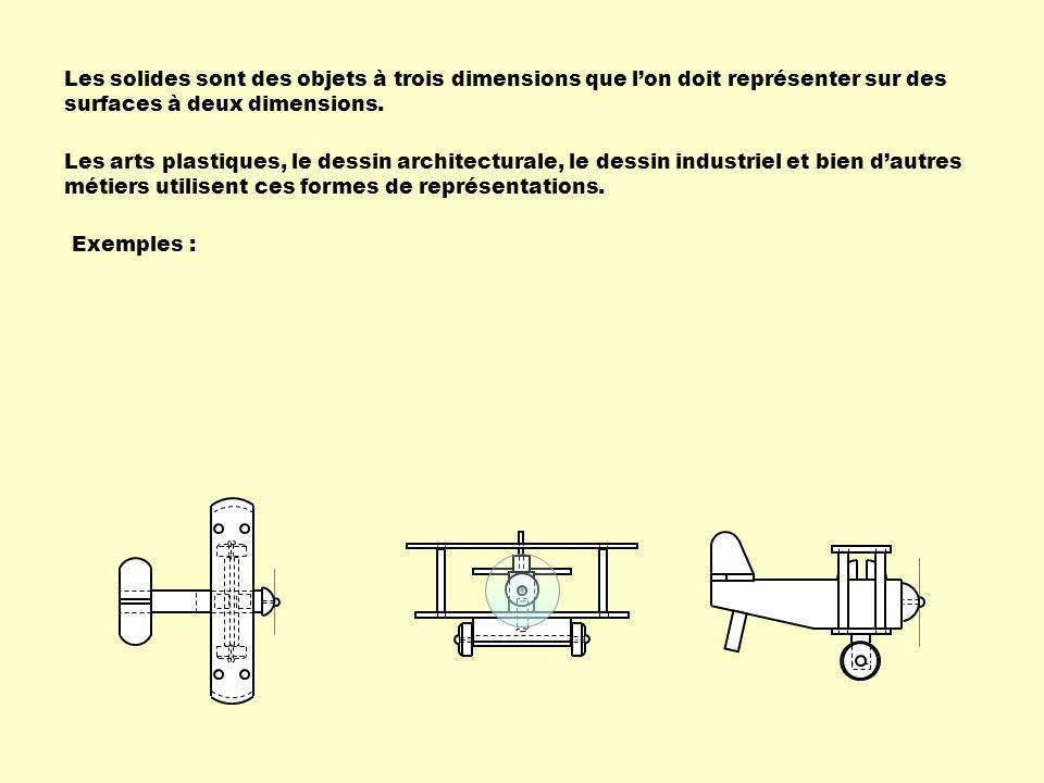 Les solides sont des objets à trois dimensions que lon doit représenter sur des surfaces à deux dimensions.