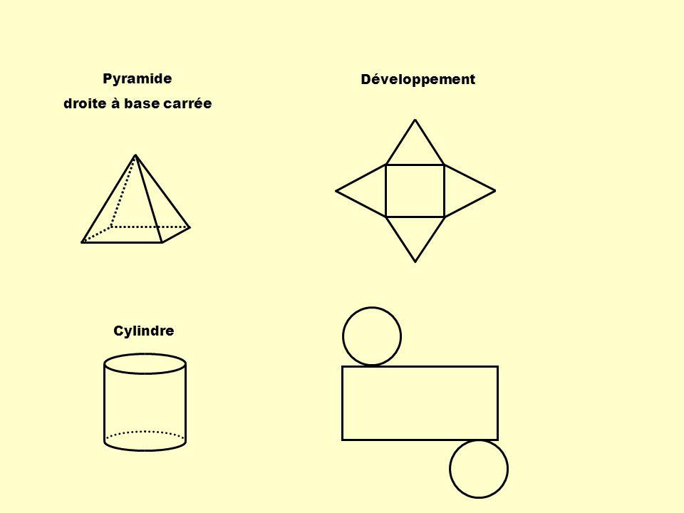 Développement Pyramide droite à base carrée Cylindre