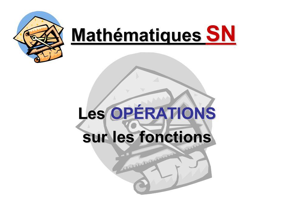 Mathématiques SN Les OPÉRATIONS sur les fonctions