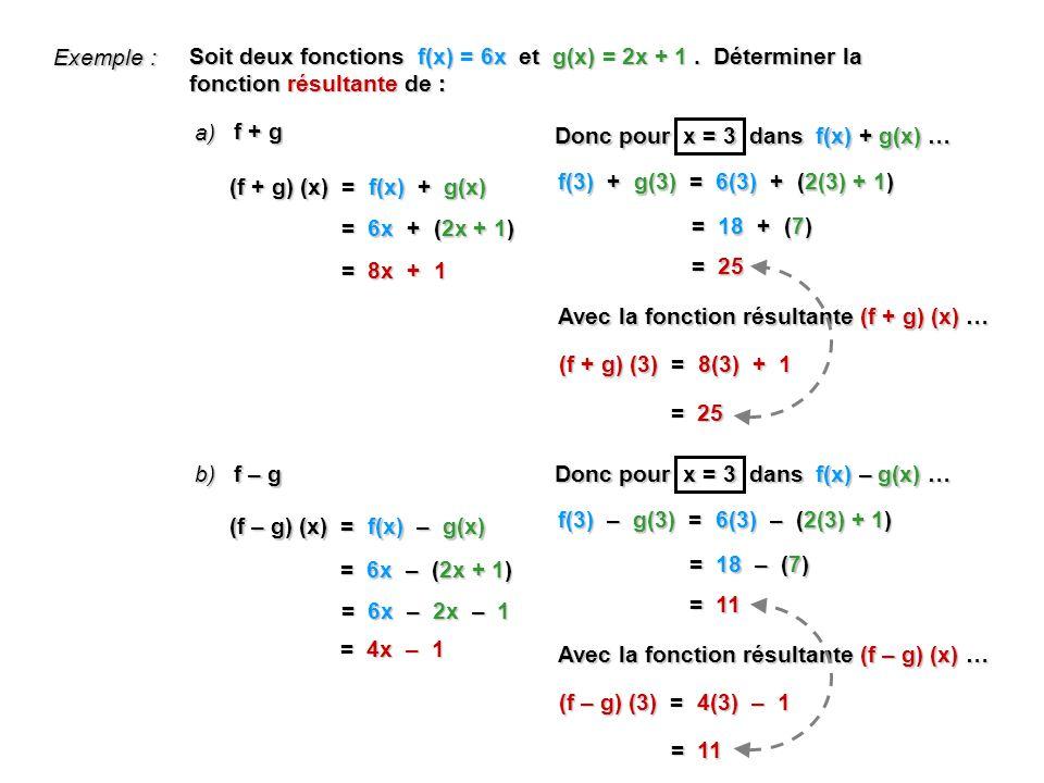 f + g Soit deux fonctions f(x) = 6x et g(x) = 2x + 1.