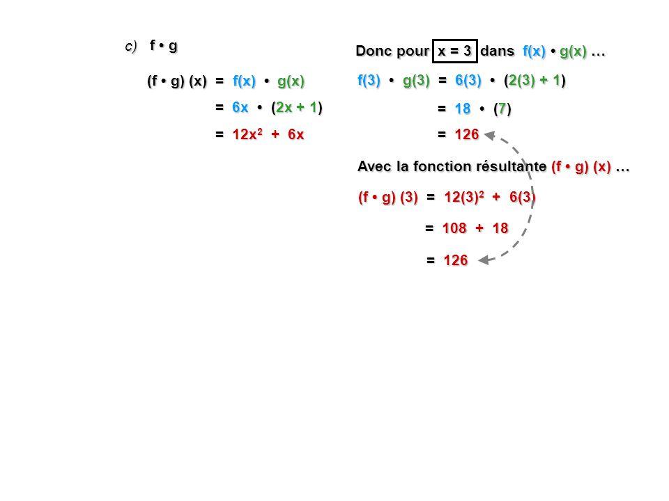 f g c) (f g) (x) = f(x) g(x) = 6x (2x + 1) = 12x 2 + 6x Donc pour x = 3 dans f(x) g(x) … f(3) g(3) = 6(3) (2(3) + 1) = 18 (7) = 126 Avec la fonction résultante (f g) (x) … (f g) (3) = 12(3) 2 + 6(3) = 108 + 18 = 126