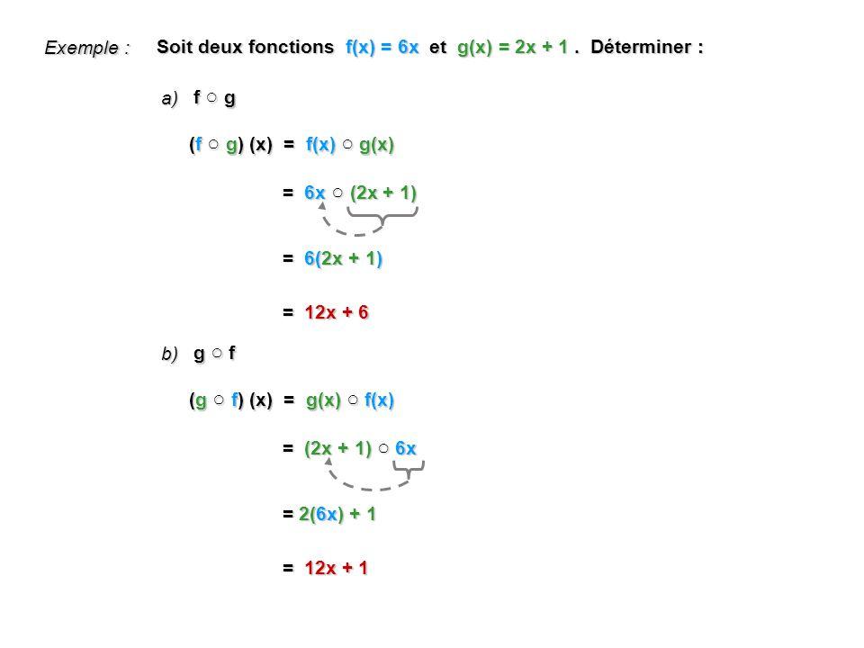 f g Soit deux fonctions f(x) = 6x et g(x) = 2x + 1.