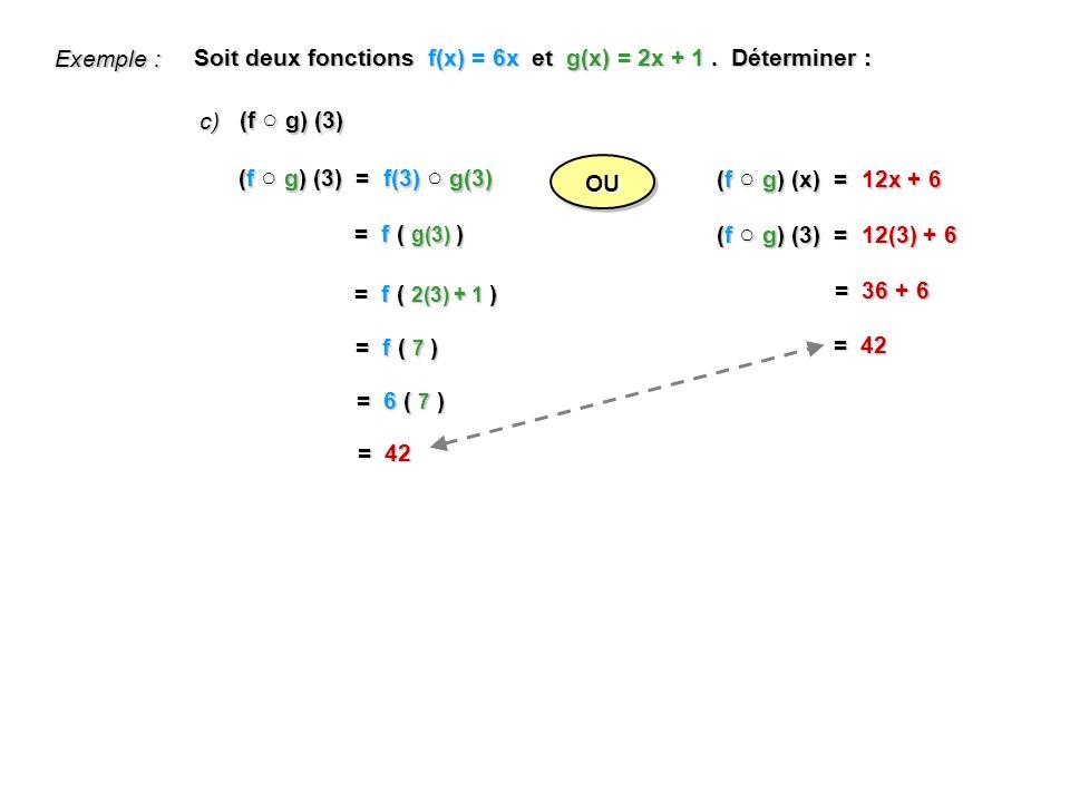 (f g) (3) Soit deux fonctions f(x) = 6x et g(x) = 2x + 1.