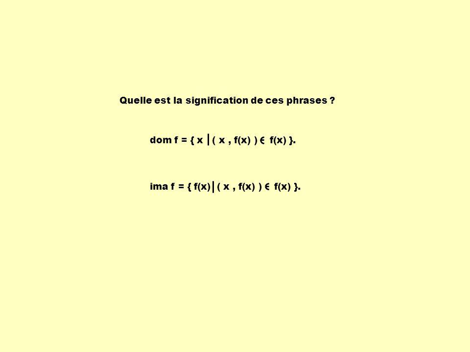 Quelle est la signification de ces phrases ? ima f = { f(x) ( x, f(x) ) f(x) }. dom f = { x ( x, f(x) ) f(x) }.