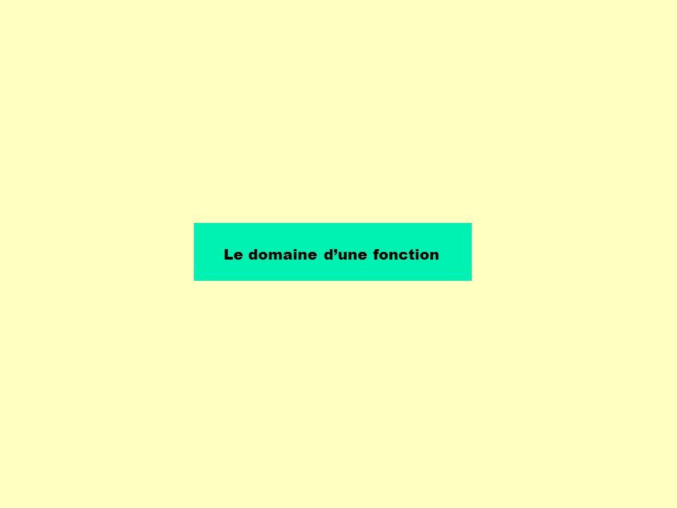 Le domaine dune fonction est lensemble de toutes les valeurs que prend la variable indépendante de la fonction.