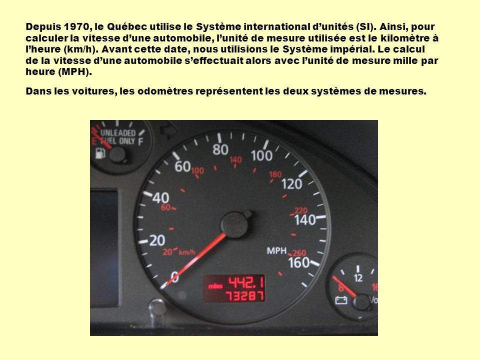 Depuis 1970, le Québec utilise le Système international dunités (SI). Ainsi, pour calculer la vitesse dune automobile, lunité de mesure utilisée est l
