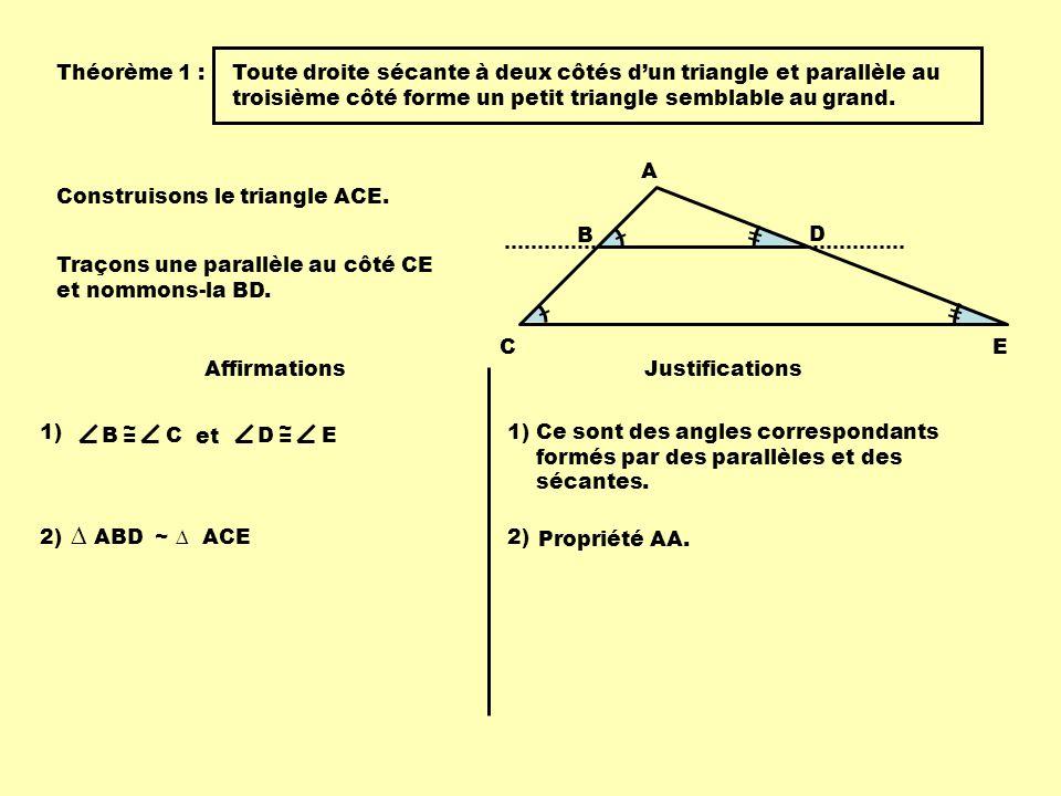 Application A B C 7 12 Dans le triangle ADE, on a tracé la parallèle BC au côté DE.