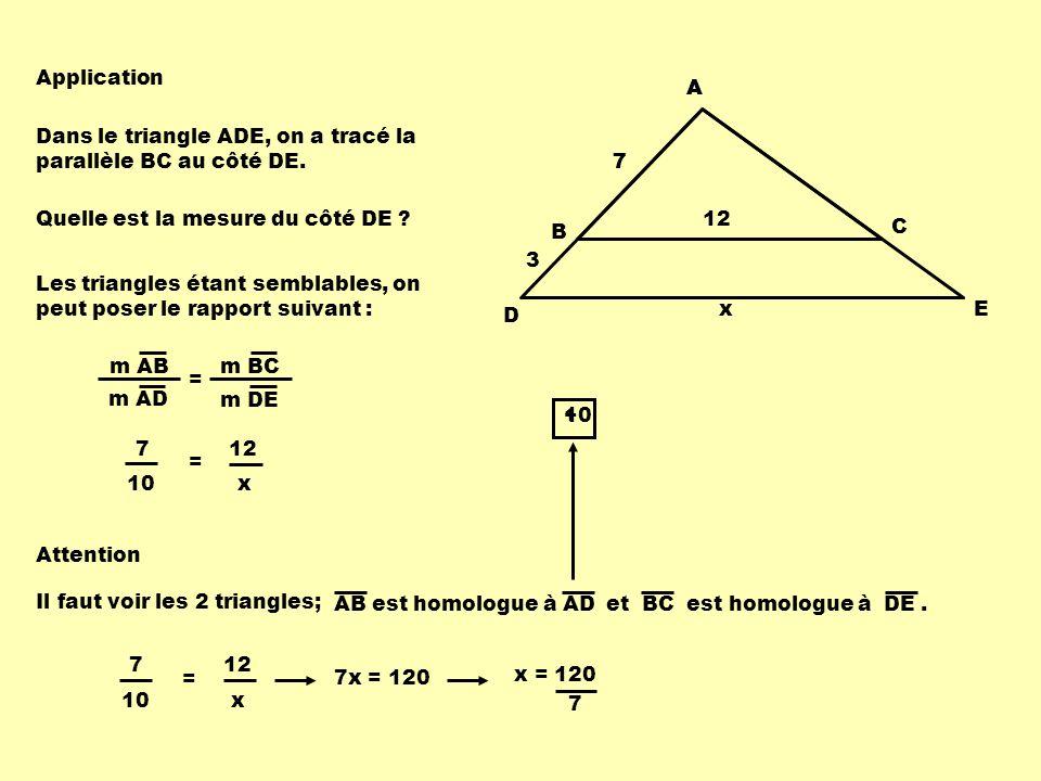 A B C D E x 2 3 4 Dans le triangle ABC, on a tracé la parallèle DE au côté BC.