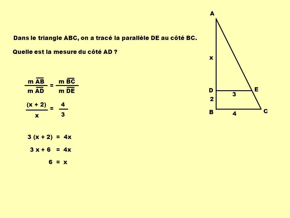 Théorème 2 : Toute droite sécante à deux côtés dun triangle et parallèle au troisième côté détermine, sur les deux côtés, des segments dont les mesures sont proportionnelles.