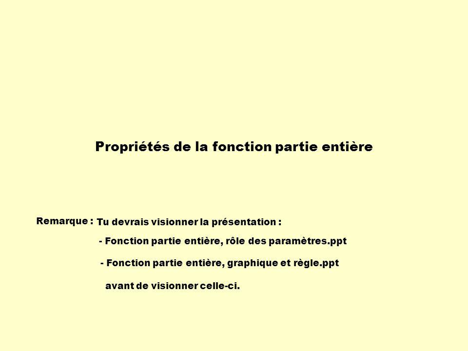 Voici la fonction partie entière de base : dom : R codom : f(x) : f(x) 0 : [ 0, + f(x) 0 : -, 1 [ Ordonnée à lorigine ( f(0) ) : 0 Extrémum : 123456-6-5-4-3-2 -2 -3 -4 -5 5 4 3 2 1 x y Analysons ses propriétés.