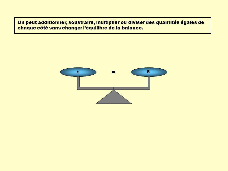 = x + 3 8 - 3 On peut additionner, soustraire, multiplier ou diviser des quantités égales de chaque côté sans changer léquilibre de la balance. = x 5
