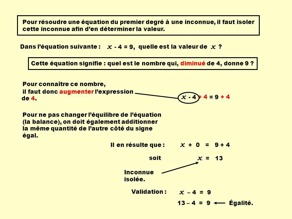 Pour résoudre une équation du premier degré à une inconnue, il faut isoler cette inconnue afin den déterminer la valeur. Dans léquation suivante : - 4